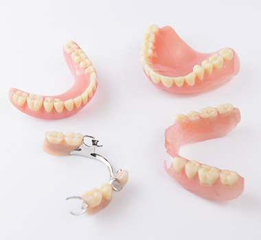Partial and full dentures prior to placement